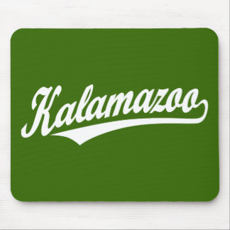 Kalamazoo script logo in white mousepad