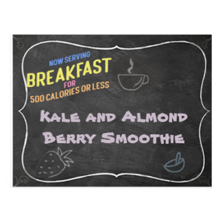 Kale and Almond Berry Smoothie Recipe Card Postcard