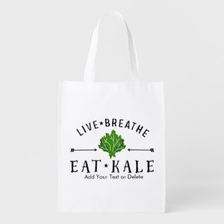 Kale Vegetarian Live Breathe Eat Kale Custom Reusable Grocery Bag
