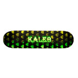 Kaleb green fire and flames skateboard design.