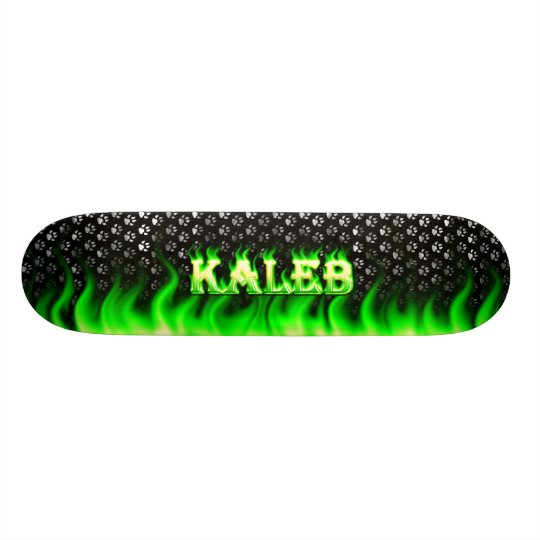 Kaleb green fire and flames skateboard design.