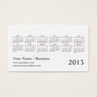 kaleidoscope 2013 pocket calendar business card