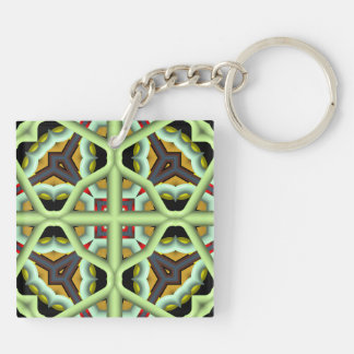 Kaleidoscope Abstract Multicolored Pattern Square Acrylic Key Chains