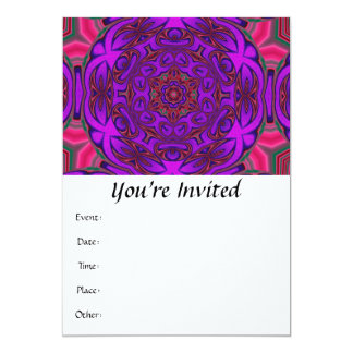 """Kaleidoscope Abstract with Purple, Pink and Green 5"""" X 7"""" Invitation Card"""