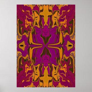 Kaleidoscope art in orange & grape pattern poster
