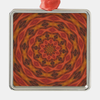 Kaleidoscope Autumn Colors Silver-Colored Square Decoration