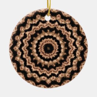 Kaleidoscope Beige Circular Pattern Ornament