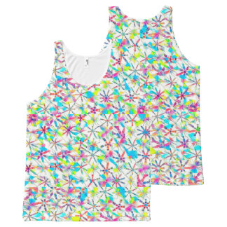 Kaleidoscope Block Print in Full Rainbow Mode All-Over Print Tank Top