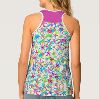 Kaleidoscope Block Print in Full Rainbow Mode Tank Top