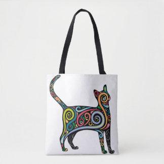 Kaleidoscope cat tote bag