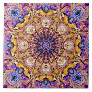 Kaleidoscope Ceramic Tile Purple Gold