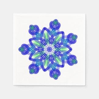 Kaleidoscope conflower blue paper napkin