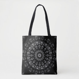 Kaleidoscope crystals mandala in black and white tote bag