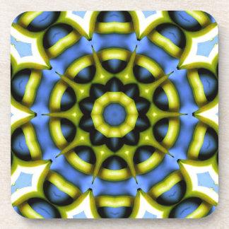 Kaleidoscope Decoration Blue Yellow Beverage Coaster