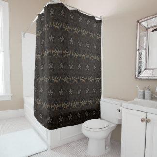 Kaleidoscope Design Dark Brown Floral Shower Curtain