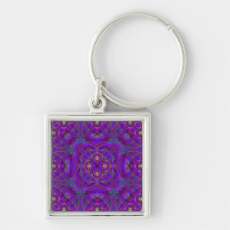 Kaleidoscope Design FF11 Silver-Colored Square Key Ring