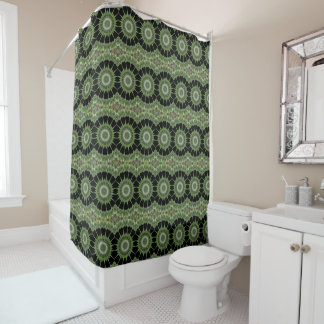 Kaleidoscope Design Green Black Circles Shower Curtain
