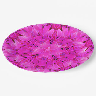 Kaleidoscope Design Hot Pink Floral Party Plates