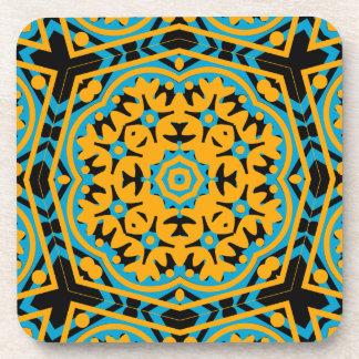 Kaleidoscope Design Light Blue Gold Black Beverage Coaster