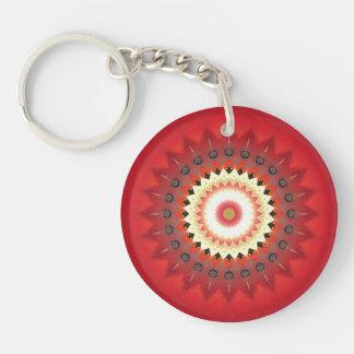 Kaleidoscope Design Single-Sided Round Acrylic Key Ring
