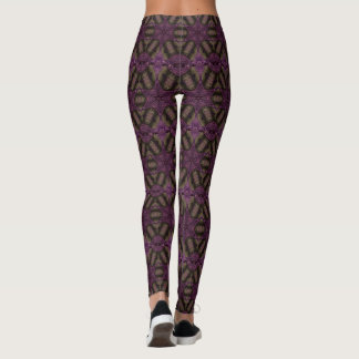 Kaleidoscope Design Stars Purple Violet Pattern Leggings