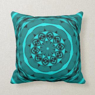 Kaleidoscope-Designed Pillow in Teal
