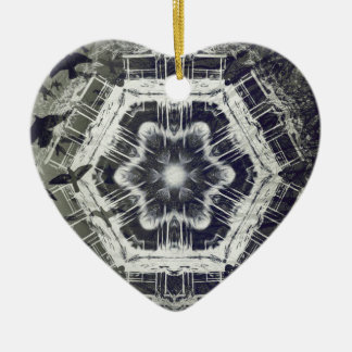 Kaleidoscope Dock on Water, Black and White Christmas Ornament