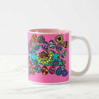 Kaleidoscope Easter Bunny   Pink   Mug