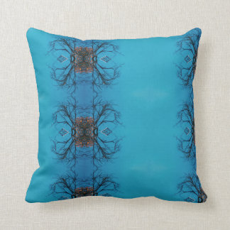 Kaleidoscope Effect Tree Sky Throw Pillow