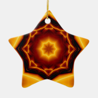 Kaleidoscope Eight Pointed Star on Fire Christmas Ornament