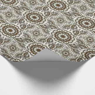 Kaleidoscope fans in browns tiled paper