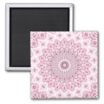 Kaleidoscope Flowers Design in Pink and Grey Square Magnet