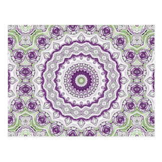 Kaleidoscope Flowers in Bright Purple and Green Postcard