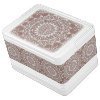 Kaleidoscope Flowers in Brown, Turquoise, and Pink Igloo Cooler