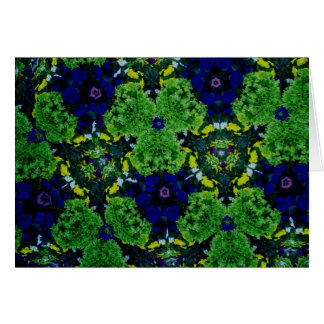 Kaleidoscope Flowers in Green and Blue Greeting Card