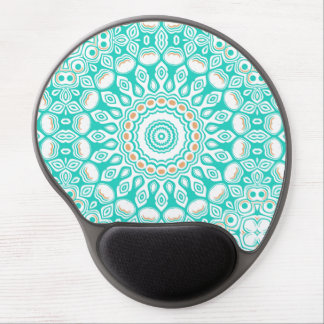 Kaleidoscope Flowers in Turquoise, White, and Tan Gel Mouse Pad
