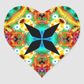 Kaleidoscope Fractal 314 Heart Sticker