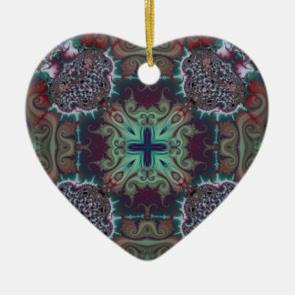 Kaleidoscope Fractal 592 Ceramic Heart Decoration