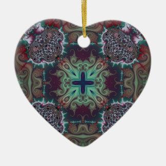 Kaleidoscope Fractal 592 Ceramic Heart Decoration