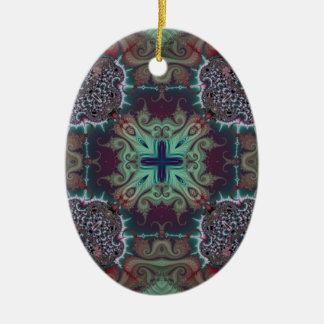 Kaleidoscope Fractal 592 Ceramic Oval Decoration