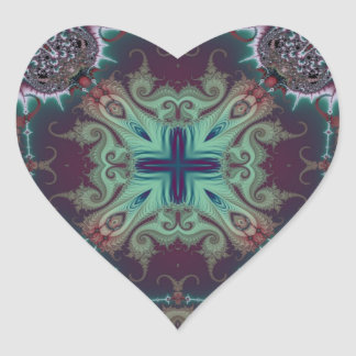 Kaleidoscope Fractal 592 Heart Sticker