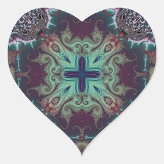 Kaleidoscope Fractal 592 Heart Sticker