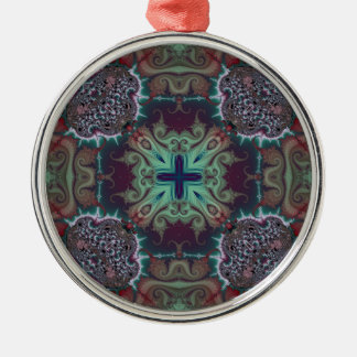 Kaleidoscope Fractal 592 Silver-Colored Round Decoration