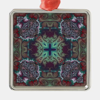 Kaleidoscope Fractal 592 Silver-Colored Square Decoration