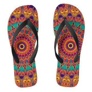 Kaleidoscope Fractal - tattoo II + your ideas Flip Flops