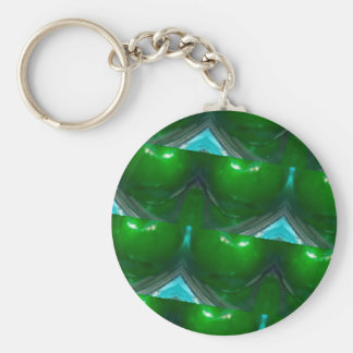 kaleidoscope Green apple's.jpg Basic Round Button Key Ring