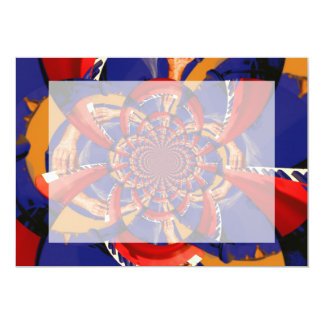 kaleidoscope hand playing red keyboard orange blue 13 cm x 18 cm invitation card