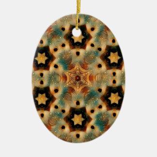 Kaleidoscope Hedgehog, Brown and Blue Christmas Ornament