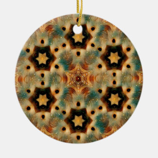 Kaleidoscope Hedgehog, Brown and Blue Christmas Ornament
