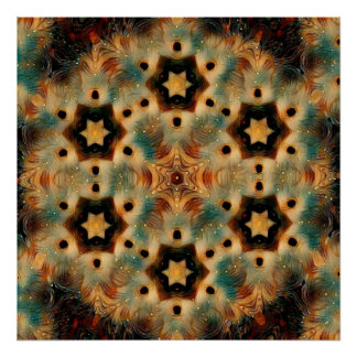Kaleidoscope Hedgehog, Brown and Blue Poster